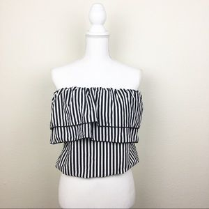 [Charlotte Russe] Striped Ruffle Tube Top